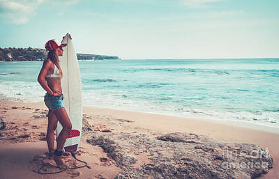 Photograph - Beautiful Surfer Girl On The Beach by Anna Om