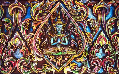 Beautiful Thai Buddhist Carved Wood Art Print by Eduardo Huelin