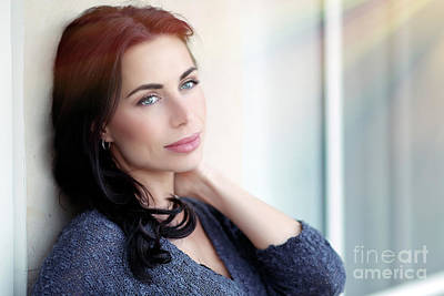 Photograph - Beautiful Thoughtful Woman by Anna Om