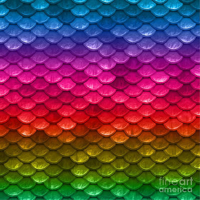 Scale Digital Art - Beautiful Vibrant Rainbow Colors Mermaid Fish Scales by Tina Lavoie
