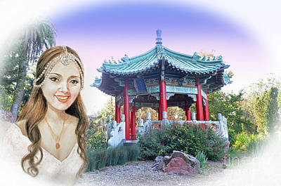 Digital Art - Beautiful Vietnamese Bride By The Pagoda At Stow Lake In Golden Gate Park II by Jim Fitzpatrick