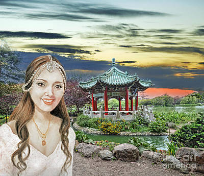 Digital Art - Beautiful Vietnamese Bride By The Pagoda At Stow Lake In Golden Gate Park by Jim Fitzpatrick