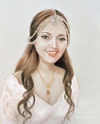 Drawing - Beautiful Vietnamese Bride  by Jim Fitzpatrick