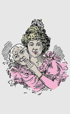 Drawing - Beautiful Vintage Drawing Of A Two Faced Woman  by Wall Art Prints