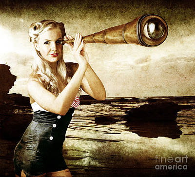 Steampunk Royalty-Free and Rights-Managed Images - Beautiful Vintage Woman With Steampunk Telescope by Jorgo Photography - Wall Art Gallery
