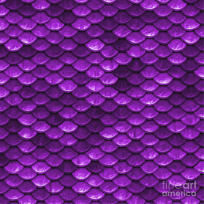 Scale Digital Art - Beautiful Violet Mermaid Fish Scales by Tina Lavoie
