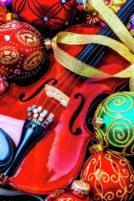 Photograph - Beautiful Violin And Ornaments by Garry Gay