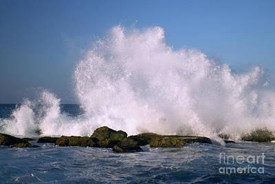 Beautiful Waves Hitting The Coastline Rocks 1 Print by Juuso Viitanen