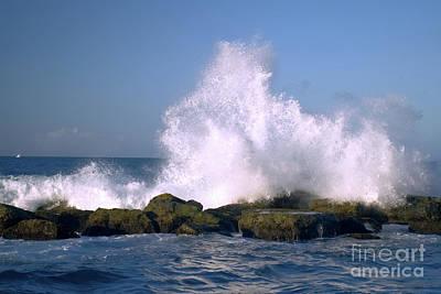 Beautiful Waves Hitting The Coastline Rocks 2 Print by Juuso Viitanen