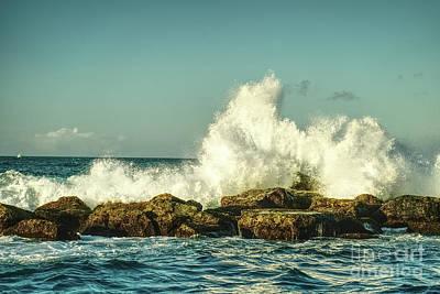 Beautiful Waves Hitting The Coastline Rocks 3 Print by Juuso Viitanen