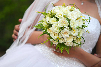 Floral Engagement Ring Photograph - Beautiful Wedding Bouquet Of Flowers In Hands Of The Bride by Mina Fouad