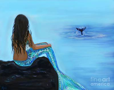 Of A Siren Painting - A Beautiful Whale Watcher by Leslie Allen