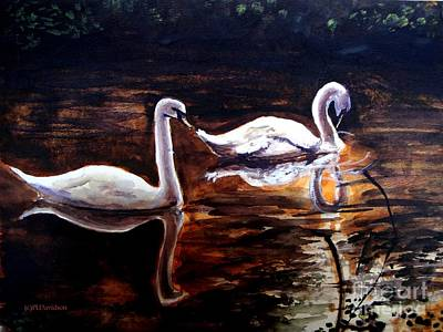 Art Print featuring the painting Beautiful White Swans by Patricia L Davidson