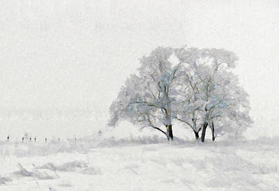 Painting - Beautiful White Winter Scene Snow Tree Rural Landscape by Wall Art Prints