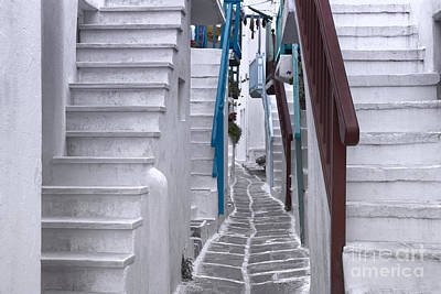 Sunny Photograph - Beautiful Whitewashed Street In The Old Town Of Mykonos Greece by Dani Prints and Images