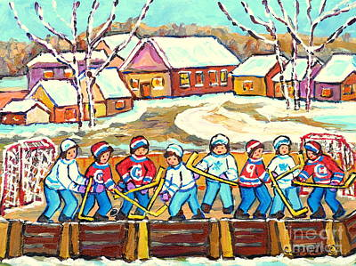Painting - Beautiful Winter Day Laurentian Village Scene Outdoor Rink Hockey Game Painting C Spandau Quebec Art by Carole Spandau