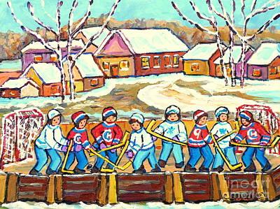 Painting - Beautiful Winter Day Laurentian Village Scene Outdoor Rink Hockey Game Painting C Spandau Quebec Art by Carole Spandau