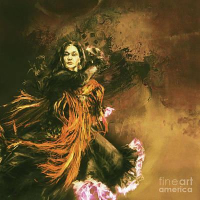 Beautiful Woman Dancing Spanish Flamenco 01 Original