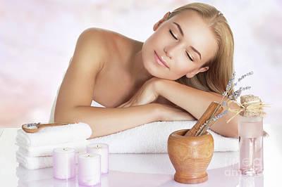 Photograph - Beautiful Woman Enjoying Massage by Anna Om
