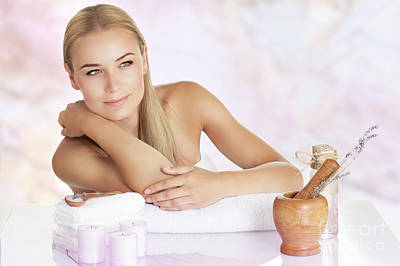 Photograph - Beautiful Woman Enjoying Spa by Anna Om