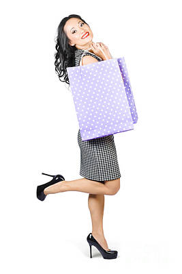 Discount Wall Art - Photograph - Beautiful Woman Holding Shopping Bags With Smile by Jorgo Photography - Wall Art Gallery