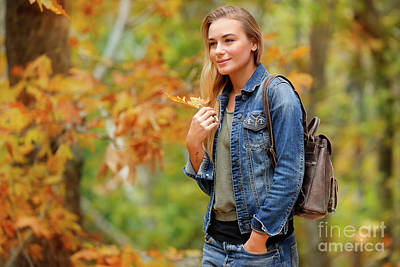Photograph -  Beautiful Woman In Autumn Park by Anna Om