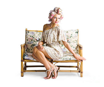 Youthful Photograph - Beautiful Woman On Couch by Jorgo Photography - Wall Art Gallery