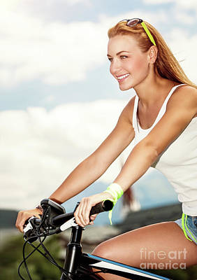 Photograph - Beautiful Woman On The Bicycle by Anna Om