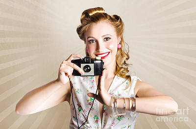 Beautiful Woman Photographer Holding Retro Camera Art Print by Jorgo Photography - Wall Art Gallery