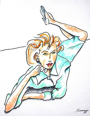 Beautiful Woman, Reclining -- Portrait Of Woman On Floor Art Print