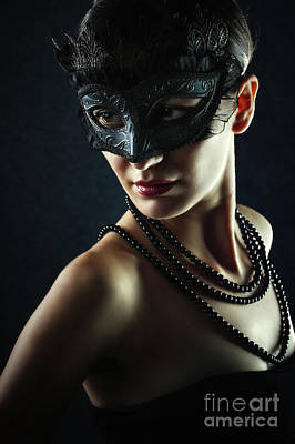 Photograph - Beautiful Woman Wearing Venetian Carnival Mask by Dimitar Hristov