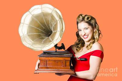 Soundtrack Photograph - Beautiful Woman With Gramophone Isolated On White by Jorgo Photography - Wall Art Gallery