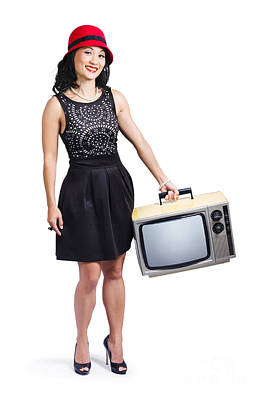 Fedora Photograph - Beautiful Woman With Television by Jorgo Photography - Wall Art Gallery