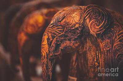 Photograph - Beautiful Wooden Elephants by Anna Om