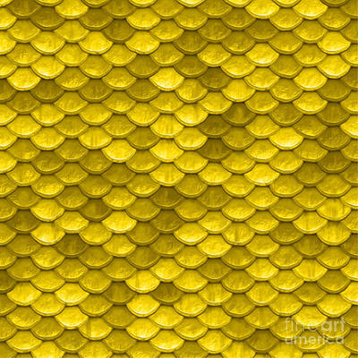 Scale Digital Art - Beautiful Yellow Mermaid Fish Scales by Tina Lavoie
