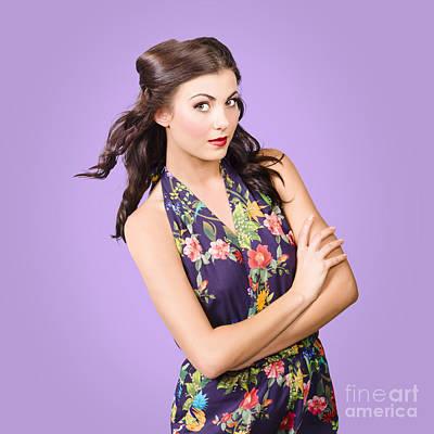Beautiful Young Brunette Girl In Purple Dress Art Print by Jorgo Photography - Wall Art Gallery