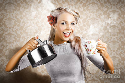 Photograph - Beautiful Young Retro Woman With Cup Of Coffee by Jorgo Photography - Wall Art Gallery