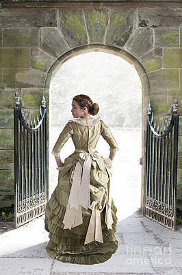 1880s Photograph - Beautiful Young Victorian Woman Walking Through A Stone Archway by Lee Avison