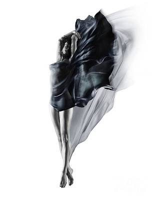Sexy Photograph - Beautiful Young Woman Dancing In Mid-air With Flowing Dark Blue Cloth Around Her Naked Body by Awen Fine Art Prints