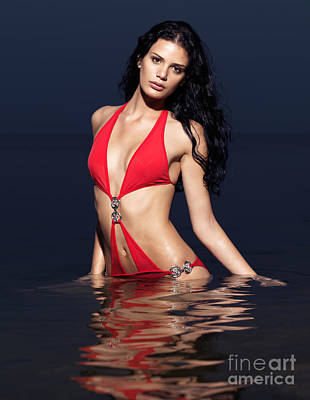 Beautiful Young Woman In Red Swimsuit Standing In Water Art Print by Oleksiy Maksymenko
