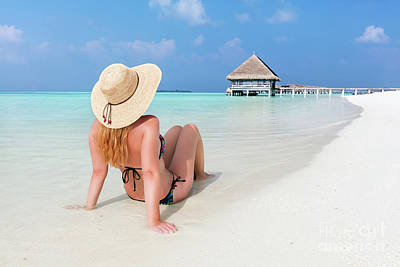 Bliss Photograph - Beautiful Young Woman In Sunhat Sitting Relaxed On Tropical Beach In Maldives by Michal Bednarek