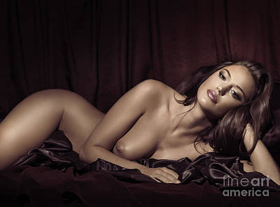 Nude Photograph - Beautiful Young Woman Lying Naked In Bed by Maxim Images