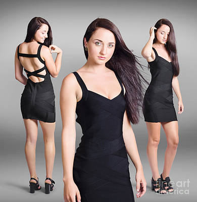 Beautiful Young Woman Showcasing Black Dress  Art Print by Jorgo Photography - Wall Art Gallery