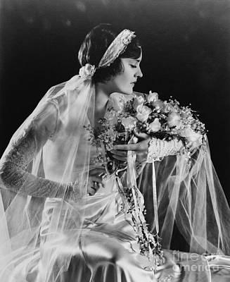 Photograph - Beautiful Ziegfeld Girl Dressed As Bride by R Muirhead Art