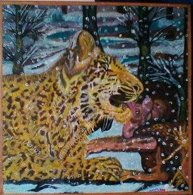 Beautifully Acrylic Handmade Painting Incredible Love Of Young Leopard And Baby Baboon Original by Shamila Khan