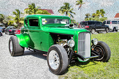 Photograph - Beautifully Restored Green Hot Rod by Bob Slitzan
