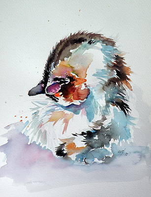 Painting - Beautifying Cat by Kovacs Anna Brigitta