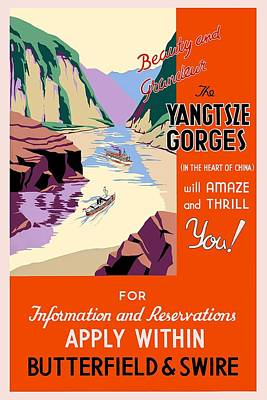 Mixed Media - Beauty And Grandeur - The Yangtsze Gorges, China - Retro Travel Poster - Vintage Poster by Studio Grafiikka