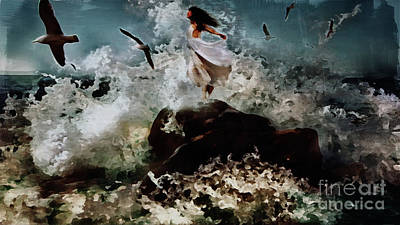 Sea Birds Painting - Beauty And The Beach  by Gull G