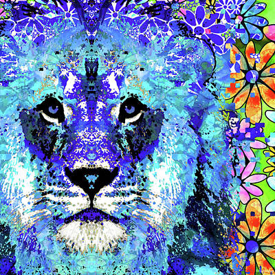 Unusual Painting - Beauty And The Beast - Lion Art - Sharon Cummings by Sharon Cummings